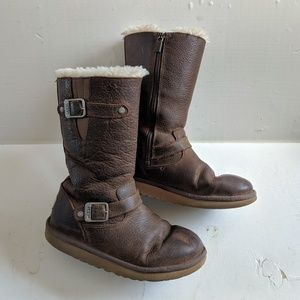 Ugg Sutter Leather Zip Shearling Boot Women's 7